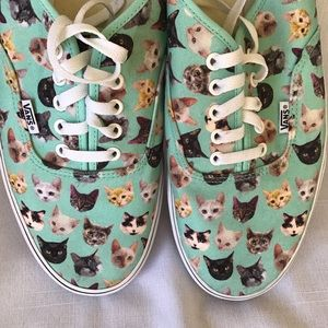 Vans Novelty Skate Shoes Aqua With Cats